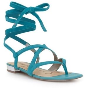 Sam Edelman Davina Ankle Wrap Sandals in Teal